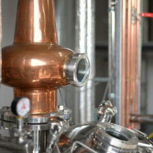 "Copper still named ""Mugwaneza"" used to craft spirits at Gorilla Spirits Distillery at Upton Grey - Gorilla Spirits Co."