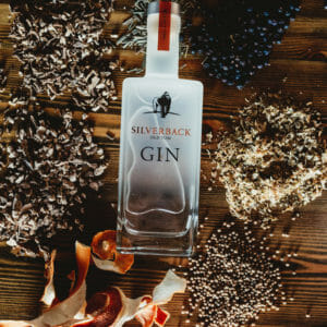 Silverback Old Tom Gin surrounded by botanicals such as coriander, juniper berries, orange peel, and angelica root used to craft the spirit - Gorilla Spirits Co.