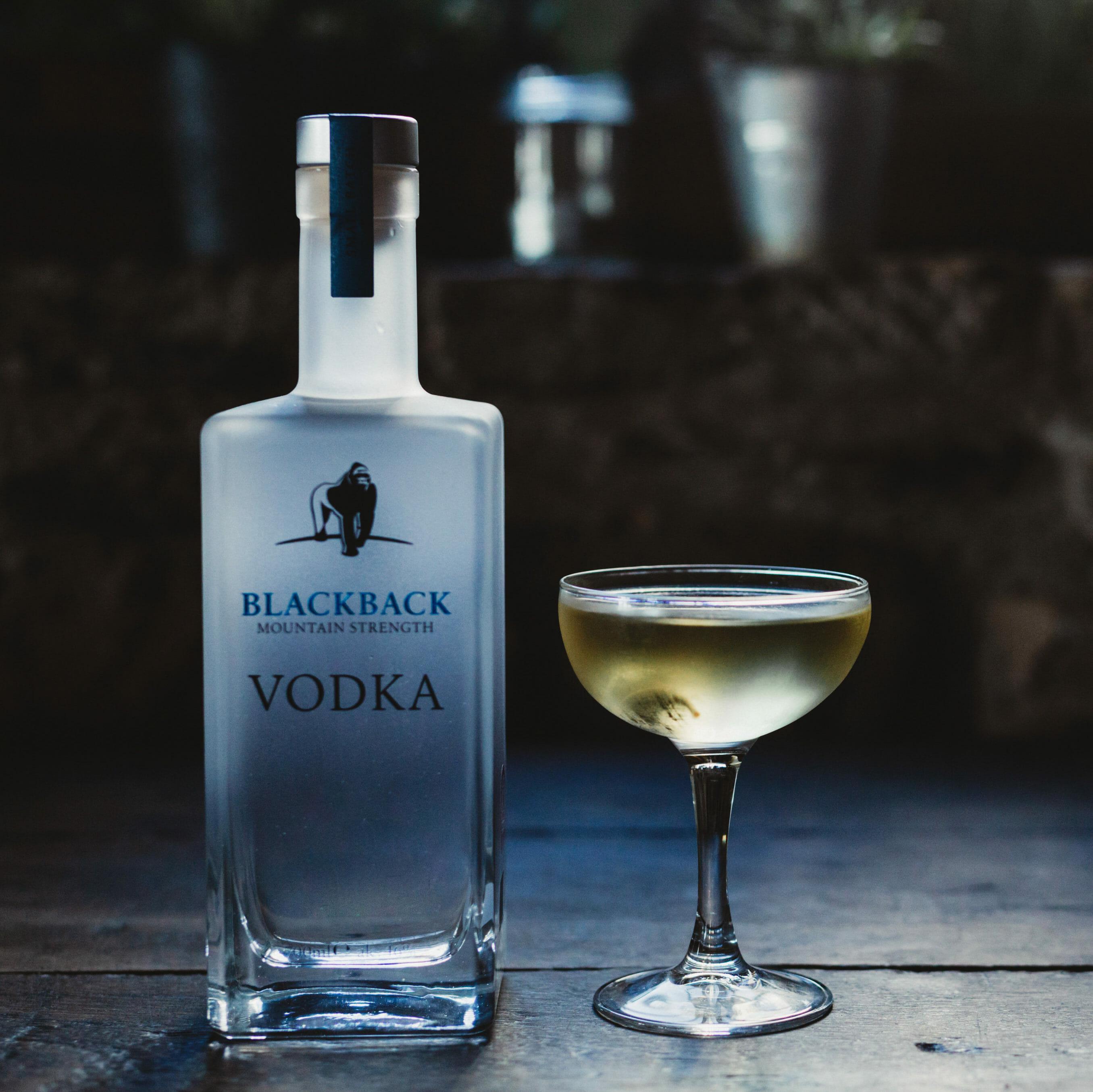 Blackback Mountain Strength Vodka bottle alongside signature martini - Gorilla Spirits Co.